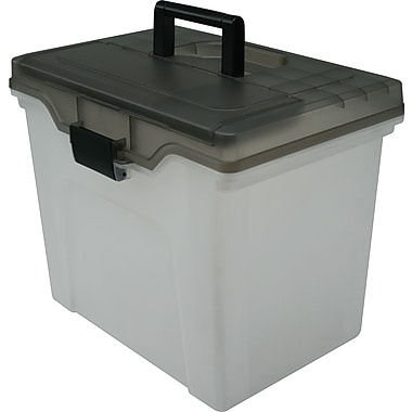 Staples® Handy File Box, Letter Sized, Clear w/Smoke Lid