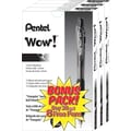 Pentel® WOW™ Retractable Ballpoint Pens, Medium Point, Black, Bonus Pack, 36/Pack