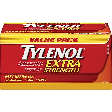 TYLENOL Acetaminophen Tablets, Extra Strength, 200/Pack