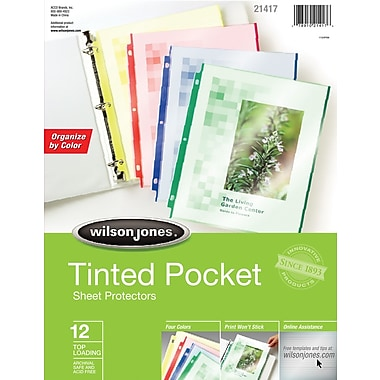 Wilson Jones® Tinted Pockets Sheet Protectors 12 Pack, Assorted Color