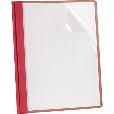 Esselte Recycled Clear-Front Report Covers, Red