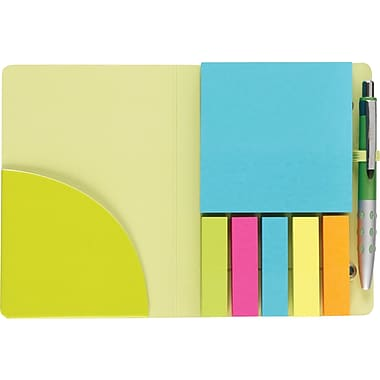 Staples Stickies Portable Stickies with Pen, Lime Green