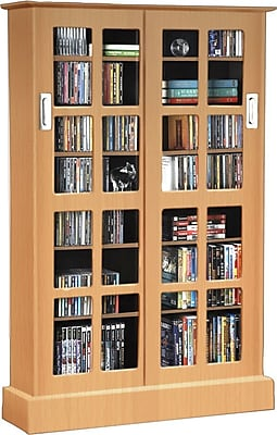 Atlantic Windowpanes Media Storage Cabinet with Sliding Glass Door, Maple