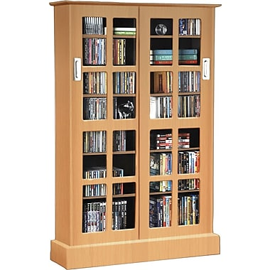 Atlantic® Windowpanes Media Storage Cabinet with Sliding Glass Door, Maple
