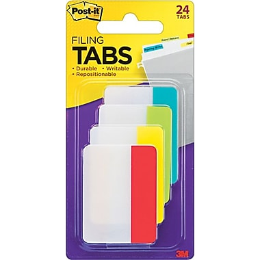 Post-it® 2in. Durable Filing Tabs, Aqua/Lime/Yellow/Red, 24 Tabs/Pack