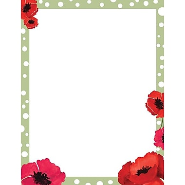 Dotted Green Poppies Stationery Set