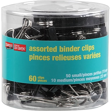 Staples® Binder Clips, Assorted Sizes, Black, 60/Tub