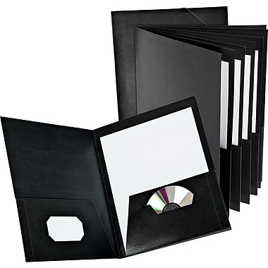 Oxford® Executive 8-Pocket Project Folders, Black