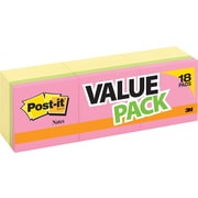 "Post-it® Notes, 3"" x 3"", Canary Yellow, 18 Pads/Pack with 6 Bright Pads (654-14+4YWB)"