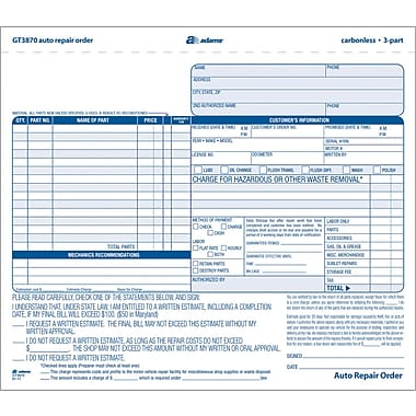 Adams Auto Repair Form, 8-1/2in. x 7in., 3 Part