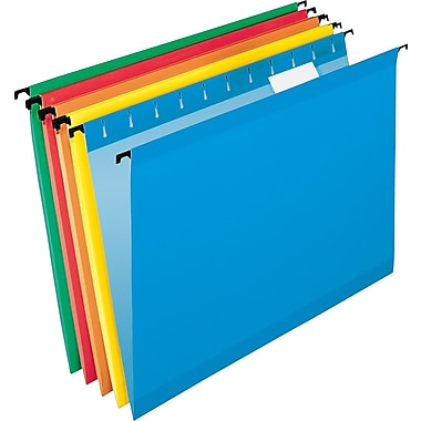 Pendaflex® SureHook Reinforced Hanging File Folders, Letter, 5 Tab, Assorted, 20/Box