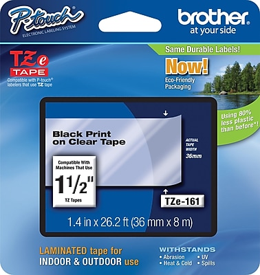 Brother TZe 161 1.5 P Touch Label Tape Black on Clear