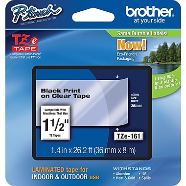 Brother® TZe-161 P-Touch® Label Tape, 1.5in.  Black on Clear