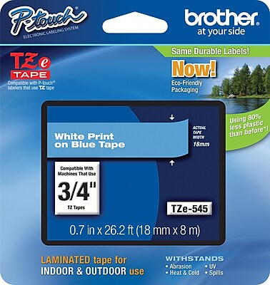 Brother TZe 545 3 4 P Touch Label Tape White on Blue