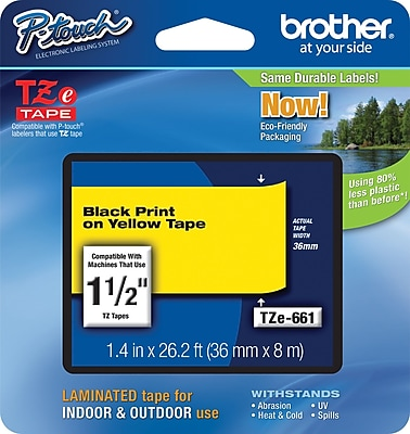 Brother TZe 661 1.5 P Touch Label Tape Black on Yellow