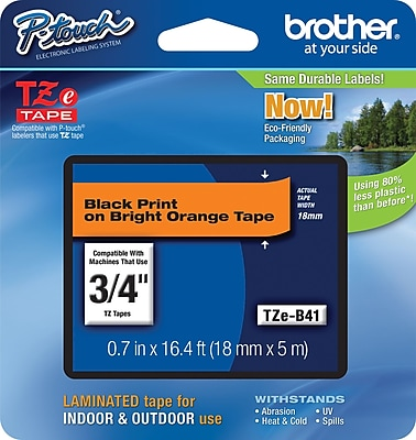 Brother TZe B41 3 4 P Touch Label Tape Black on Fluorescent Orange