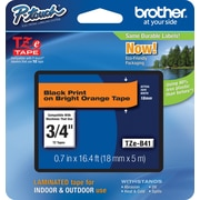 "Brother TZe-B41 3/4"" P-Touch Label Tape Black on Fluorescent Orange"