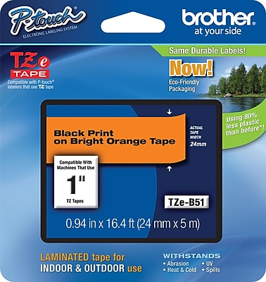 Brother TZe B51 1 P Touch Label Tape Black on Flourescent Orange