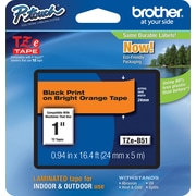 "Brother TZe-B51 1"" P-Touch Label Tape Black on Flourescent Orange"