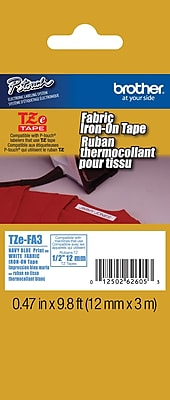 Brother TZe FA3 1 2 P Touch Iron On Label Tape Navy on White