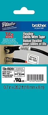 Brother TZe FX241 3 4 Touch Label Tape Flexible ID Black on White