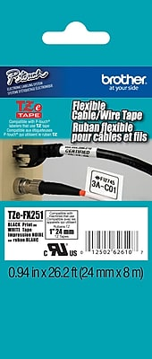 Brother TZe FX251 1 P Touch Flexible ID Label Tape Black on White