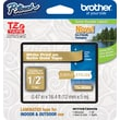 Brother® TZe-MQ835 P-Touch® Label Tape, 1/2in. White on Satin Gold