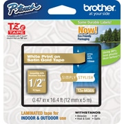 Brother® TZe-MQ835 P-Touch® Label Tape, 1/2 White on Satin Gold