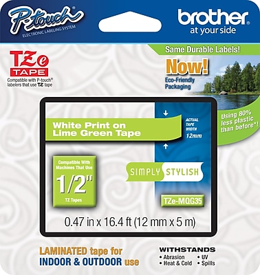 Brother TZe MQG35 1 2 P Touch Label Tape White on Lime Green