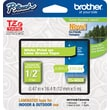 "Brother® TZe-MQG35 P-Touch® Label Tape, 1/2"" White on Lime Green"