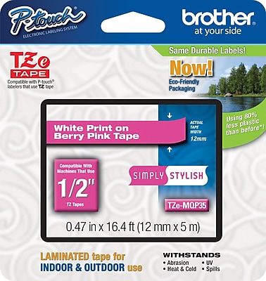 Brother TZe MQP35 1 2 P Touch Label Tape White on Berry Pink