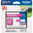 "Brother® TZe-MQP35 P-Touch® Label Tape, 1/2"" White on Berry Pink"
