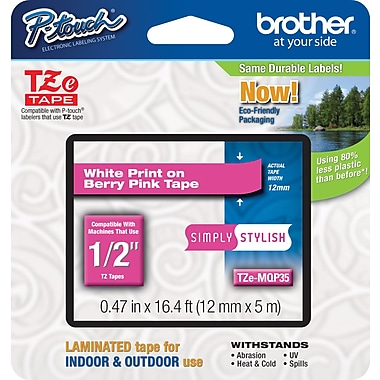 Brother® TZe-MQP35 P-Touch® Label Tape, 1/2in. White on Berry Pink