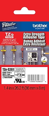 Brother TZe S261 1.5 P Touch Label Tapes Black on White with Extra Strength Adhesive