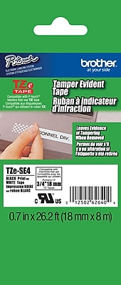 Brother TZe SE4 3 4 P Touch Tamper Evident Label Tape Black on White
