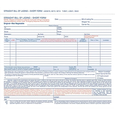 Tops Snap-Off Bill Of Lading, Short Forms, 8-1/2in. x 7in., 4 Part