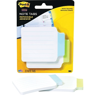 Post-it® Note Tabs, Green/Blue, 50 Tabs