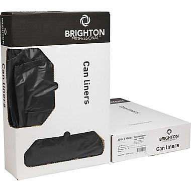 Brighton Professional Linear Low Density Trash Bags, Black, 55 gal.