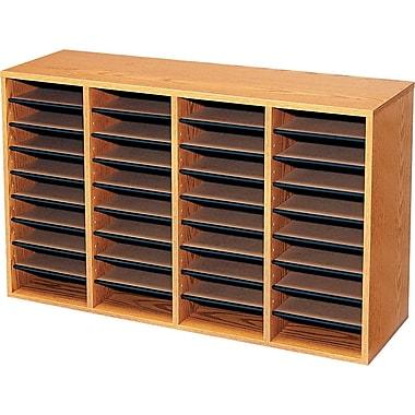 Safco® - Porte-revues en bois, chêne moyen, 36 compartiments