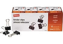 Staples® Small Metal Binder Clips Bulk Pack, Black, 3/4' Size with 3/8' Capacity