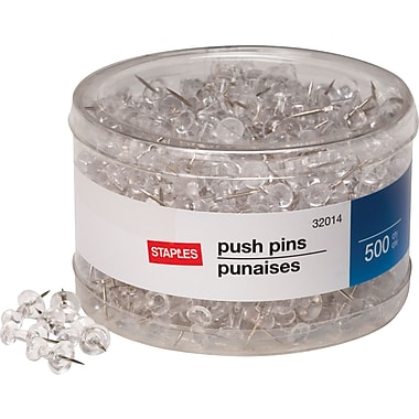 Staples Push Pins, Clear, 500/Tub