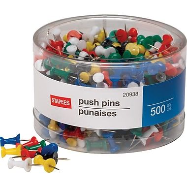 Staples Push Pins, Assorted Colors, 500/Tub