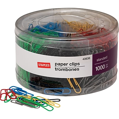 Staples #1 Size Vinyl-Coated Paper Clips, 1000/Tub