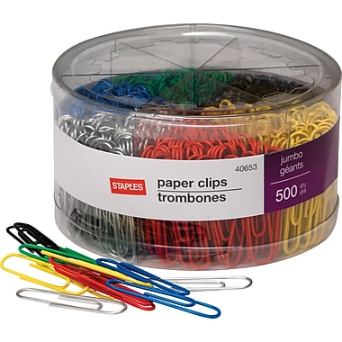 Staples Jumbo Vinyl Coated Paper Clips, Smooth, 500/Tub
