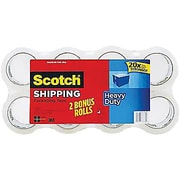 Scotch Heavy-Duty Packaging Tape, Clear, 1.88in. x 54.6 yds, Bonus Pack 8 Rolls