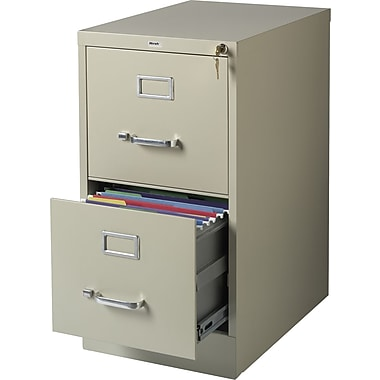 Staples Vertical File Cabinet, 22in., 2- Drawer, Letter Size, Putty
