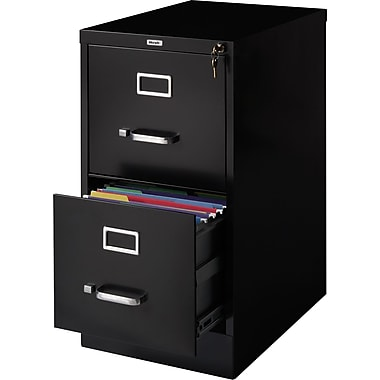Staples Vertical File Cabinet, 22in., 2- Drawer, Letter Size, Black