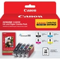 Canon PGI-5 Black & CLI-8 Color Ink Cartridges (0628B027) with Photo Paper, Combo 4/Pack
