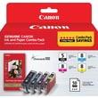 Canon PGI-5/CLI-8 Black & Color Ink Cartridges, 4/Pack Combo with Photo Paper