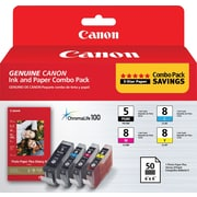 Canon PGI-5 Black & CLI-8 C/M/Y Color Ink Cartridges & Photo Paper (0628B027), Combo 4/Pack